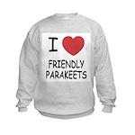 I heart friendly parakeets Kids Sweatshirt