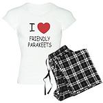 I heart friendly parakeets Women's Light Pajamas