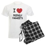 I heart friendly parakeets Men's Light Pajamas