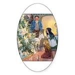 Christmas Tree Fairies Sticker (Oval)