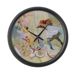 Dancing in the Fairy Fountain Large Wall Clock