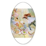 Dancing in the Fairy Fountain Sticker (Oval)
