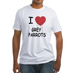 I heart grey parrots Fitted T-Shirt