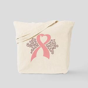 Antique Pink Ribbon Tote Bag