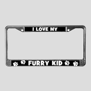 I Love My Furry Kid License Plate Frame