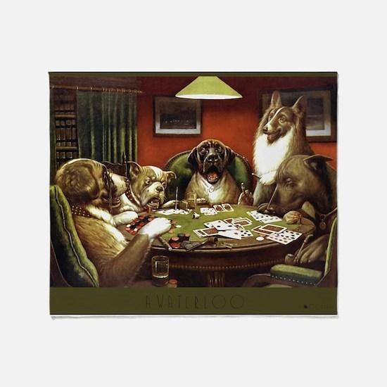 Waterloo Dog Poker Throw Blanket
