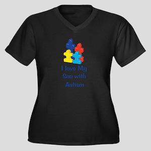 Love Autism Son Women's Plus Size V-Neck Dark T-Sh