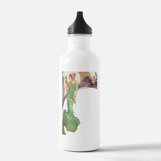 Woman in Green Dress Water Bottle