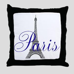 Paris Always (bleu) Throw Pillow