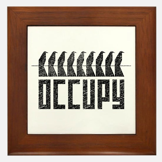 OCCUPY birds-on-wire Framed Tile
