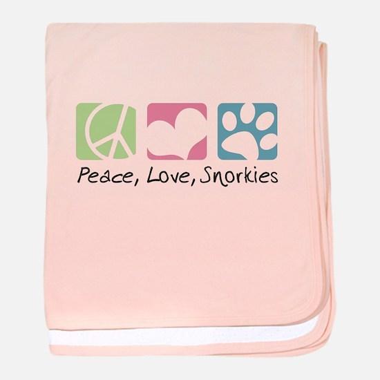 Peace, Love, Snorkies baby blanket