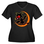 Devil cat Women's Plus Size V-Neck Dark T-Shirt