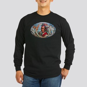 Indian Chief Cigar Label Long Sleeve Dark T-Shirt