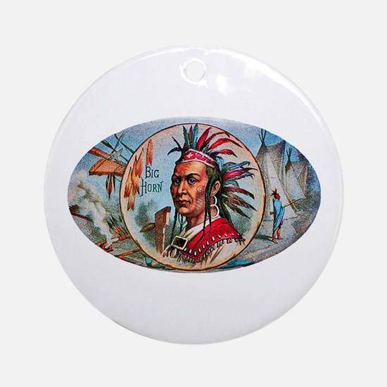 Indian Chief Cigar Label Ornament (Round)