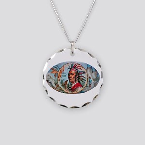 Indian Chief Cigar Label Necklace Circle Charm
