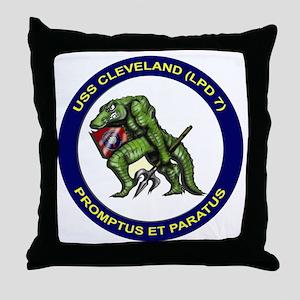 USS Cleveland LPD 7 Throw Pillow