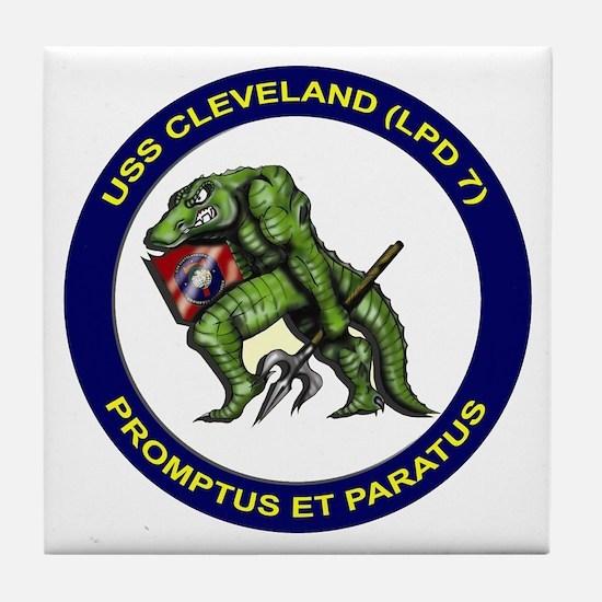 USS Cleveland LPD 7 Tile Coaster