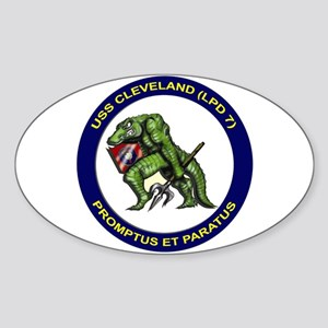 USS Cleveland LPD 7 Oval Sticker