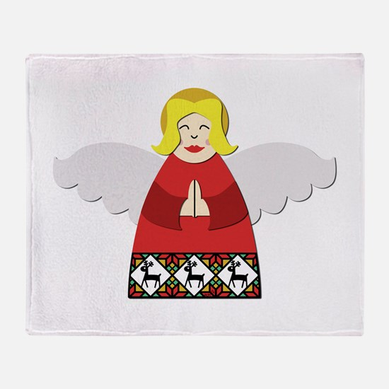 Ukrainian Angel Red Throw Blanket
