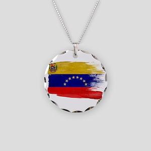 Venezuela Flag Necklace Circle Charm