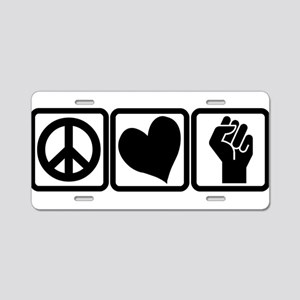 PEACE-LOVE-OCCUPY Aluminum License Plate
