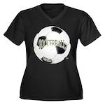 FootBall Soccer Women's Plus Size V-Neck Dark T-Sh