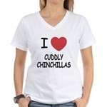 I heart cuddly chinchillas Women's V-Neck T-Shirt