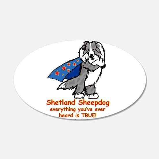 Merle Super Sheltie 22x14 Oval Wall Peel