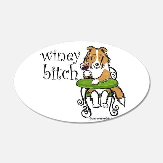 Winey Bitch Sheltie 22x14 Oval Wall Peel