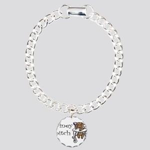 Winey Dachshund Charm Bracelet, One Charm
