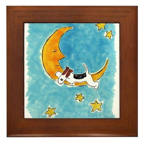 Wire Fox Terrier/Moon Framed Tile