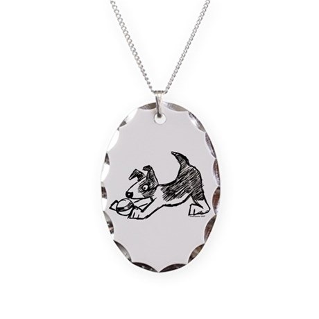 Dog Playing With Ball Necklace Oval Charm