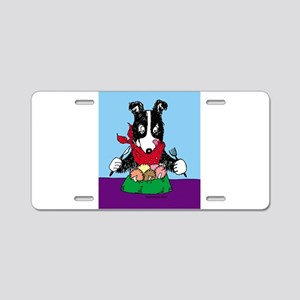 Border Collie dinner Aluminum License Plate