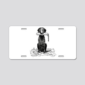 Curly-Coated Retriever with B Aluminum License Pla