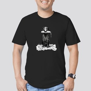 Curly-Coated Retriever with B Men's Fitted T-Shirt