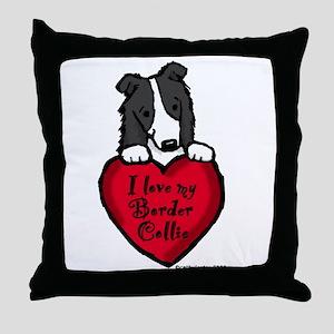 Border Collie (black) Love Throw Pillow