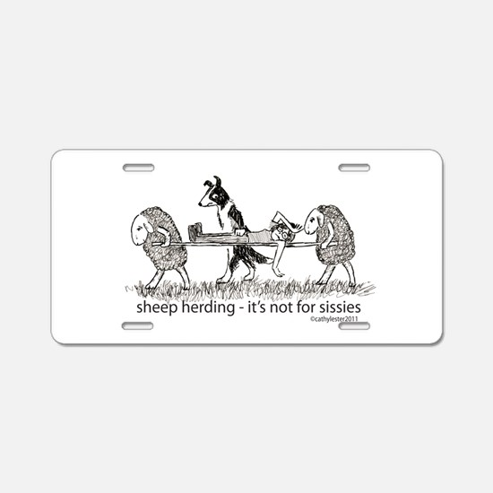 Sheep Herding Sissies Aluminum License Plate