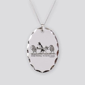 Sheep Herding Sissies Necklace Oval Charm