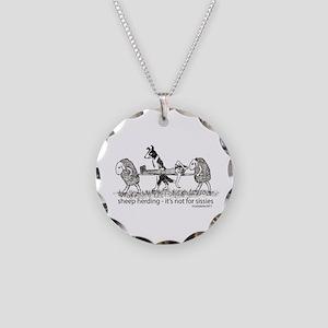 Sheep Herding Sissies Necklace Circle Charm