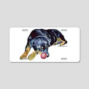 Rottweiller with Ball Aluminum License Plate
