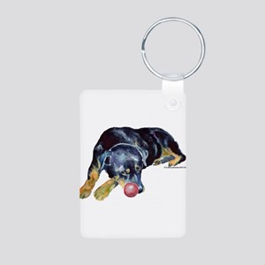 Rottweiller with Ball Aluminum Photo Keychain