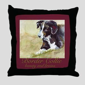 Border Collie Beauty & Brains Throw Pillow