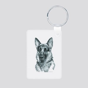 German Shepherd Aluminum Photo Keychain