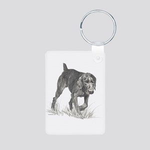 German Wire Hair Pointer Aluminum Photo Keychain