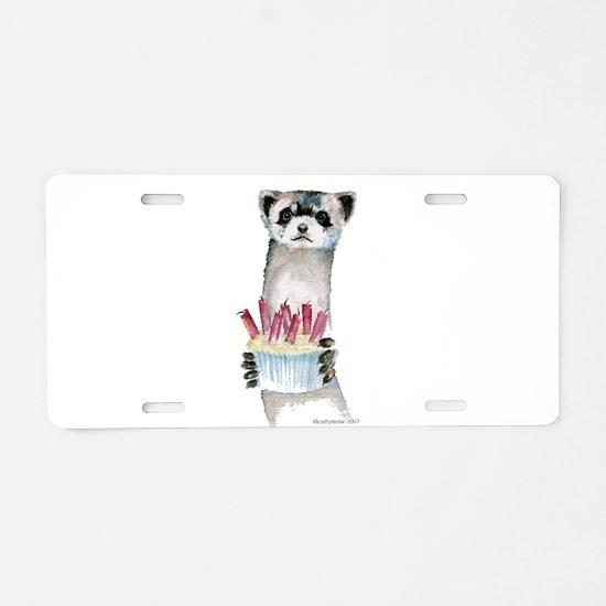 Birthday Ferret Aluminum License Plate