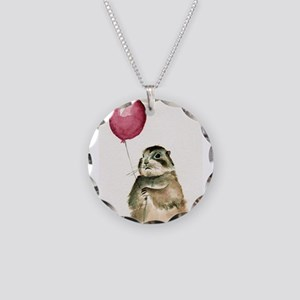 Prairie Dog With Balloon Necklace Circle Charm