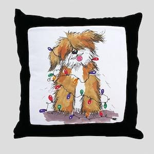 Light String Doggie Throw Pillow