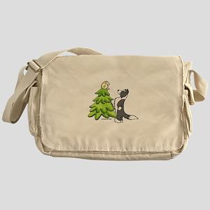 Border Collie Christmas Messenger Bag