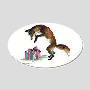 Fox and Present 22x14 Oval Wall Peel