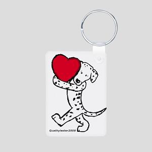 Dalmatian Valentine Aluminum Photo Keychain